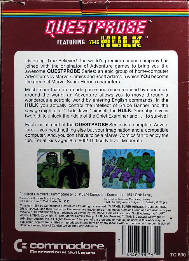 Computer Game Museum Display Case Questprobe The Hulk
