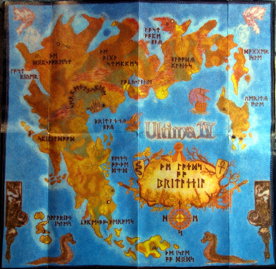 Computer Game Museum Display Case Ultima IV Quest Of The Avatar - Us gold map