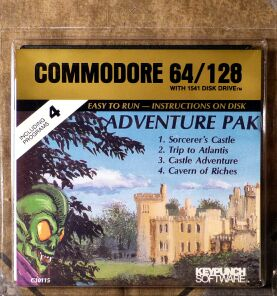 Adventure Pak: Sorcerer's Castle, Trip to Atlantis, Castle Adventure, Cavern of Riches (Blister Pack) (Keypunch Software) (C64)