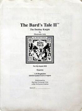 Bard's Tale II: Destiny Knight (Big Red Computer Club) (Apple II GS)