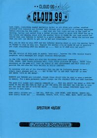Cloud 99 (Marlin Games) (ZX Spectrum) (Contains Hint Sheet)