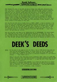 Deek's Deeds (Bass-On) (ZX Spectrum) (missing tape)