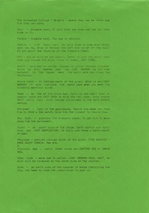 Enchanted Cottage, The (hint sheet only) (River Software) (ZX Spectrum) (Contains Hint Sheet)