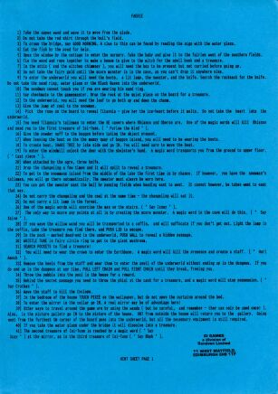 Faerie (hint sheet only) (8th Day Software) (ZX Spectrum) (Contains Hint Sheet)