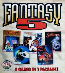Fantasy 5 (King's Quest II: Romancing the Throne; Populous; Magic Candle III, The; Might & Magic III: Isles of Terra; The Summoning)