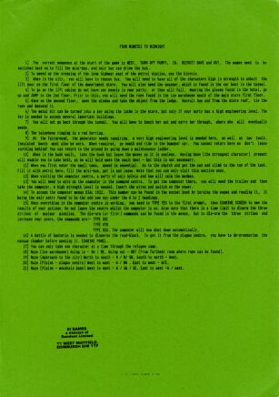Four Minutes to Midnight (hint sheet only) (8th Day Software) (ZX Spectrum) (Contains Hint Sheet)