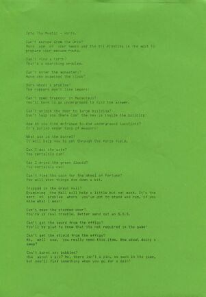 Into the Mystic (hint sheet only) (River Software) (ZX Spectrum) (Contains Hint Sheet)