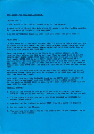 Quest for the Holy Joystick, The (hint sheet only) (Delta 4 Software) (ZX Spectrum) (Contains Hint Sheet)