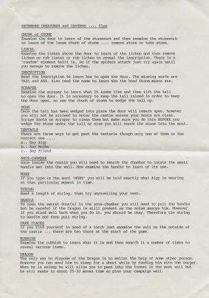 Retarded Creatures and Caverns (hint sheet only) (Zenobi Software) (ZX Spectrum) (Contains Hint Sheet)