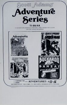 Adventure Series 13+ (includes Claymorgue, Buckaroo Banzai, Spiderman, Hulk) (Tex-Comp) (TI-99/4A)